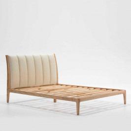 Béžová posteľ z jasaňového dreva Thai Natura Comfy, 150×190 cm