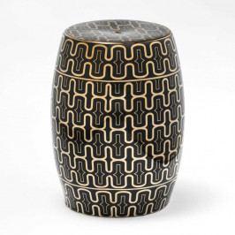 Čierno-zlatá keramická stolička Thai Natura, 33×43 cm