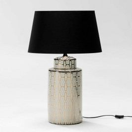 Bielo-zlatá stolná lampa z keramiky bez tienidla Thai Natura