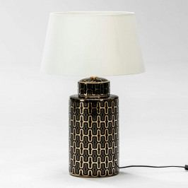 Čierno-zlatá stolná lampa z keramiky bez tienidla Thai Natura Silvia