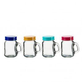 Sada 4 pohárov s barevným viečkom SUMMER FUN II BUNT, 120ml