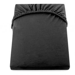 Čierna elastická bavlnená plachta DecoKing Amber Collection, 80/90 x 200 cm