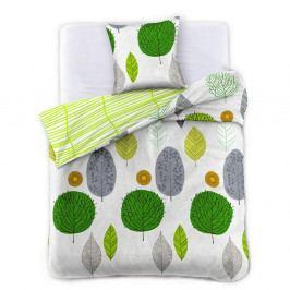 Obliečky z bavlneného saténu DecoKing Greenleaf, 135×200cm + obliečka na vankúš 50×75