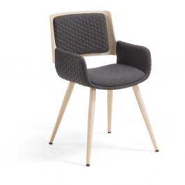 Tmavosivá stolička s drevenou podnožou a opierkami La Forma Andre
