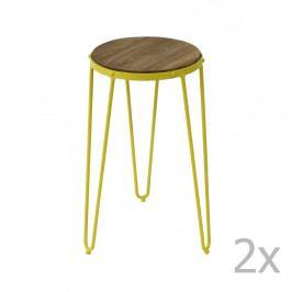 Sada 2 žltých príručných stolíkov z brestového dreva Red Cartel Gatsby