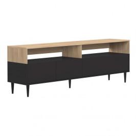Čierny TV stolík v dekore dubového dreva TemaHome Horizon