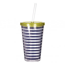 Modro-biely pruhovaný pohárik so zeleným viečkom Premier Housewares Mimo, 450 ml