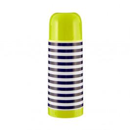 Modro-biela pruhovaná termoska so zeleným viečkom Premier Housewares Mimo, 350 ml