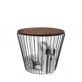 Odkladací stolík z kovu v dekore orechového dreva HARTÔ, Ø50 cm