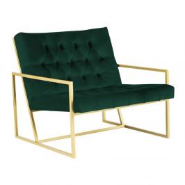 Zelené kreslo s konštrukciou v zlatej farbe Mazzini Sofas Bono