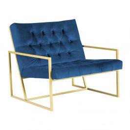 Modré kreslo s konštrukciou v zlatej farbe Mazzini Sofas Bono