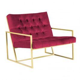 Ružové kreslo s konštrukciou v zlatej farbe Mazzini Sofas Bono