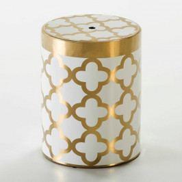 Biela taburetka s detailom v zlatej farbe Thai Natura