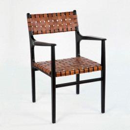 Kožená stolička s opierkami na ruky Thai Natura