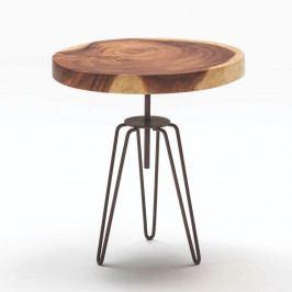 Drevený odkladací stolík s kovovým podnožou, ∅ 48 cm