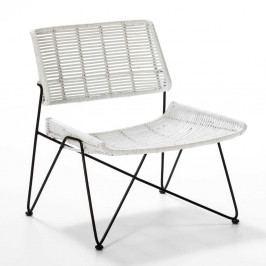 Biela prútená stolička Thai Natura, výška 73 cm