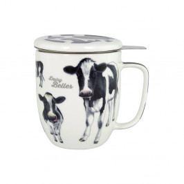 Hrnček z kostného porcelánu s pokrievkou a sitkom na sypaný čaj Ashdene Dairy Belles, 350ml