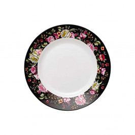 Dezertný tanier z kostného porcelánu Ashdene Ebony Rose, ⌀19cm