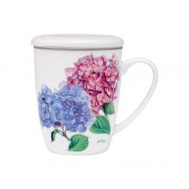 Hrnček z kostného porcelánu s pokrievkou a sitkom na sypaný čaj Ashdene Pastel Hydrangeas, 350ml