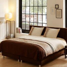 Obliečky na dvojlôžko z bavlneného saténu Muller Textiels Brown Stripes, 200×200 cm