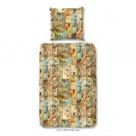 Obliečky na jednolôžko z bavlneného saténu Muller Textiels Good Morning Postcard, 140×200 cm