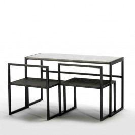 Čierny jedálenský stôl s mramorovou doskou a 2 stoličkami Thai Natura