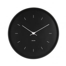 Čierne nástenné hodiny Karlsson Butterfly, Ø 27,5 cm