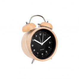 Čierny budík v drevenom dekore Karlsson Classic Bell, ⌀14cm