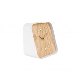 Biele kovové stolové hodiny s dekorom dreva Karlsson Squared