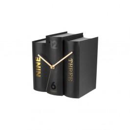 Čierne stolové hodiny ve tvaru knih Karlsson
