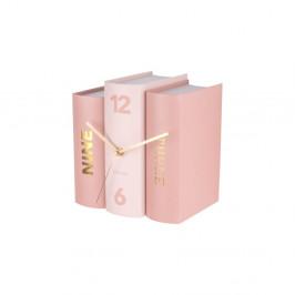 Ružové stolové hodiny v tvare kníh Karlsson