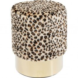 Stolička s leopardím vzorom Kare Design Cherry Leo, ∅ 35 cm