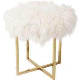 Biela stolička s detailami v zlatej farbe Kare Design Mr Fluffy