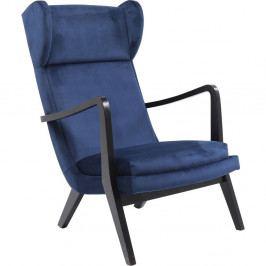 Modré kreslo ušiak Kare Design Silence Velvet