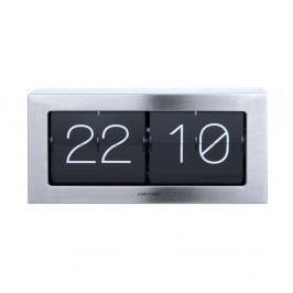 Strieborné preklápajúce hodiny Karlsson Flip, 37×17,5 cm