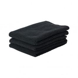 Sada 3 čiernych bavlnených kuchynských utierok Zone Prado, 27 x 27 cm