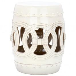 Biely odkladací keramický stolík vhodný do exteriéru Safavieh Ibiza