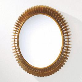Nástenné zrkadlo z kovu zlatej farby Thai Natura Fierce, Ø 79 cm