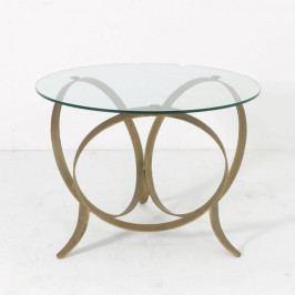 Odkladací stolík z kovu a skla zlatej farby Thai Natura Stars, Ø 85 x 63 cm