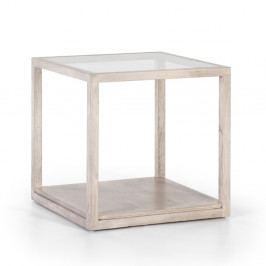 Sivý odkladací stôl z lakovaného dreva Thai Natura Delirium, 60×60 cm