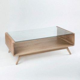Svetlohnedý konferenčný stôl z dreva a skla Thai Natura Baptism, 120×70 cm