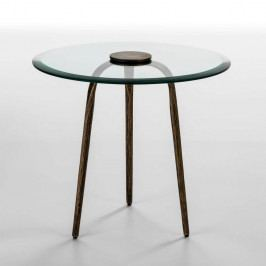 Odkladací stolík zo skla a železa Thai Natura Xenia, Ø 59 cm
