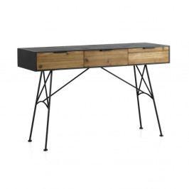 Konzolový stolík s 3 zásuvkami a kovovými nohami Geese Capri