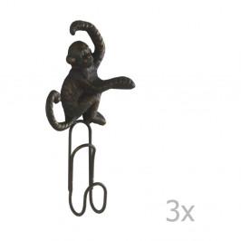 Sada 3 tmavosivých nástenných kovových vešiakov Geese Monkey