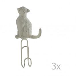 Sada 3 bielych nástenných kovových vešiakov Geese Cat