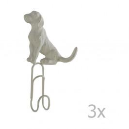 Sada 3 bielych nástenných kovových vešiakov Geese Doggy
