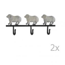 Sada 2 nástenných vešiakov Geese Sheeps