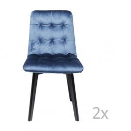 Sada 2 modrých kožených jedálenských stoličiek Kare Design Moritz