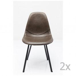 Sada 2 sivých jedálenských stoličiek s oceľovou konštrukciou Kare Design Lounge