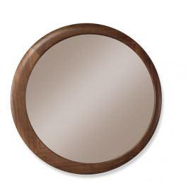 Nástenné zrkadlo s rámom z orechového dreva Wewood - Portugues Joinery Luna, Ø 90 cm